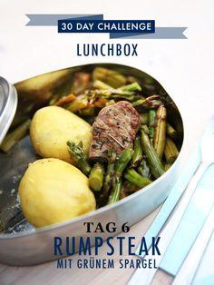 30 day challenge: Jeden Tag ein leckeres Mittagessen für die Büro-Lunchbox zubereiten. Heute gab es Rumpsteak mit grünem Spargel und Kartoffeln. Das Rezept dazu findet ihr wie immer auf unserer Website.