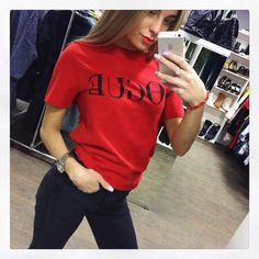 Summer Tops Fashion Clothes For Women VOGUE Letter Printed T Shirt Red Black female T-shirt