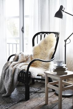 Cosy, rustic, minimalistic reading nook.