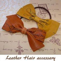 本革 ハンドメイド レザーリボン ヘアゴム大 Hair Accessory, Hooks, Hair Tinsel, Fur, Hair Tools, Hair Accessories