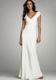 Cosy V-Neck Cap Style Sleeves Satin Empire Sheath Wedding Gowns