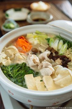 Soy Milk Hot Pot 豆乳鍋 - Delicious Japanese Soy Milk Hot Pot recipe with napa cabbage, mushrooms, and thinly sliced pork cooked in a creamy and savory soy milk broth. #hotpotrecipe #Japanesehotpot #souprecipes #asiansouprecipes #soymilkrecipes #donabepotrecipe | Easy Japanese Recipes at JustOneCookbook.com