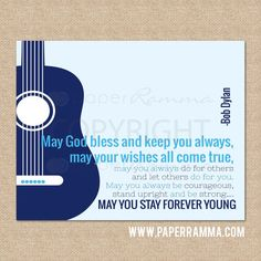 Hey, I found this really awesome Etsy listing at https://www.etsy.com/listing/183232654/forever-young-bob-dylan-rock-and-roll