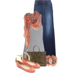 """""""Long Denim Skirt"""" by colierollers on Polyvore"""