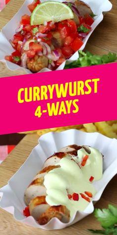 Currywurst 4-Ways Snacks Für Party, Vegan, Sausage, Tacos, Pork, Mexican, Ethnic Recipes, Youtube Kanal, Crickets