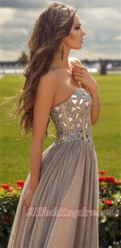 Sweetheart Beaded Long Gray Prom Dresses,Backless Evening Dresses http://21weddingdresses.storenvy.com/products/15750504-sweetheart-beaded-long-gray-prom-dresses-backless-evening-dresses
