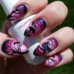 pink raven nails nail art hand painted ravens crows dead tree halloween nails
