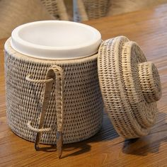 Rattan Ice Bucket with Tong White
