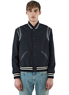 Men's Jackets - Clothing | Find more at LN-CC - Leather Studded Band Teddy Bomber Jacket