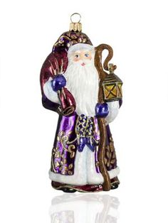 Winter Santa Glittered Glass Ornament