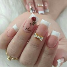 french nails with a twist Tips Acrylic Nail Designs, Nail Art Designs, Cute Nails, Pretty Nails, Gel Uv Nails, Romantic Nails, May Nails, Nagellack Design, Manicure E Pedicure