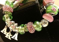 AKA Alpha Kappa Alpha Sorority Charm Bracelet - European Style - Pink and Green #followprettypearlsinc AKA 1908
