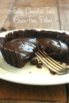 Fudgy Chocolate Tart (Grain Free, Paleo) via DeliciouslyOrganic.net