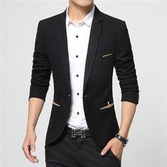 Men Suits 2016 New Arrival Brand-Clothing Autumn Masculine Blazer Men Fashion Slim Fit Suit Men Casual Solid Color Suit Blazer Male Jacket Cheap Mens Blazers, Blazers For Men Casual, Stylish Blazers, Mens Fashion Suits, Mens Suits, Suit Men, Blazer Fashion, Traje Casual, Mode Man