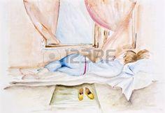 """Résultat de recherche d'images pour """"jeune fille qui dort au bord d'une fenetre aquarelle"""""""