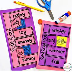 Cloud and Weather Seasons Activities for Kindergarten First Grade Second Grade