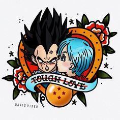 Vegeta & Bulma - Tough Love, Dragon Ball Z Cartoon Tattoos, Anime Tattoos, Bunny Tattoos, Tatuagem Old Scholl, Manga Dragon, Old School Tattoo Designs, Tattoo Flash Art, Dragon Ball Gt, Trendy Tattoos