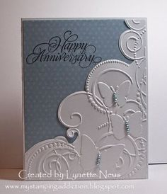 My Stamping Addiction: Embossed Butterflies Darice embossing folder Happy Anniversary Cards, Homemade Anniversary Cards, Anniversary Ideas, Embossed Cards, Embossed Paper, Cricut Cards, Marianne Design, Butterfly Cards, Sympathy Cards