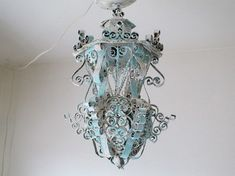 Electric lantern sconce lighting painted by AnitaSperoDesign