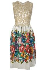 Dolce & Gabbana Floral Print and Lace Dress