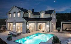Arkitekt Ritat - Willa Nordic - New England New England Hus, Luxury Homes Dream Houses, Fancy Houses, Modern Farmhouse Exterior, House Goals, Pool Houses, Home Fashion, My Dream Home, Future House
