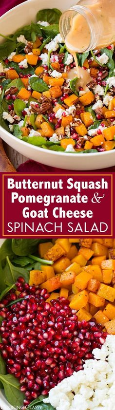 Butternut Squash, Pomegranate and Goat Cheese Spinach Salad with Red Wine Vinaigrette - definitely one of my FAVORITE fall/winter salads!! The flavors are blend perfectly.