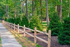 DID IT - For in front of the Christmas trees - rustic fence ideas | Rustic Cedar Post and Rail Fence landscaped with Oriental Spruce ...