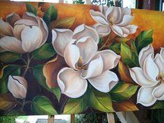 MAGNOLIAS VALDIVIANAS Canvas Painting Tutorials, Flower Painting Canvas, Oil Painting Flowers, Painting & Drawing, Canvas Art, Magnolia Flower, Arte Floral, Flower Art, Art Drawings