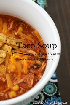Are you looking for a soup to warm you up on chilly days? Try this slow cooker taco soup. It is sure to become a fast family favorite.