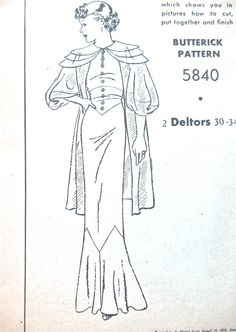 1930s vintage gown and jacket sewing pattern by by Fancywork