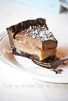 Dark chocolate and salted caramel tart
