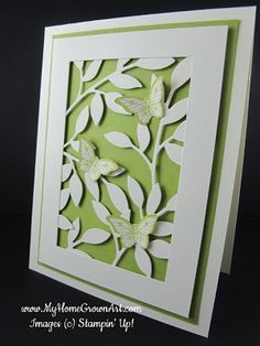 Stampin Up, Little Leaves & Butterflies.    Adhere several little die cuts to the back of a 'frame' to look like one big die cut.