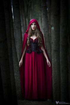 "But Red Riding Hood thought to herself, ""As long as I live, I will never leave the path by myself to run into the wood, when my mother has forbidden me to do so."""
