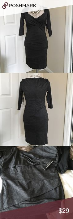 "WHBM Slimming dress. NWT. Classy multi shades of gray slimming dress. Has built in shapewear to smooth your silhouette. Layered panels on front and back add additional slimming effect. 18"" zipper in back. Perfect for evening but simple enough for office. NWT. White House Black Market Dresses"