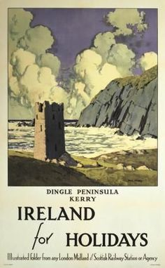 Dingle Peninsula, County Kerry, Irish Art Travel Poster by Paul Henry Water Photography, Travel Photography, Ireland Holiday, National Railway Museum, Railway Posters, Irish Art, Europe, New Travel, Travel Bag