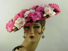 VINTAGE HAT 1950s ORIGINAL ELSA SCHIAPARELLI PINK ROSES 'NEW LOOK' WIDE BRIM HAT
