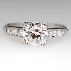 Art Deco Old Euro Diamond Engagement Ring Platinum 1930's