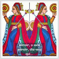 La Reine de Deniers et son côté dédaigneux. N'est-il pas ?  Les cartes du tarot, vues par Vincent Beckers.  Plus de choses sérieuses, celles-là, sur le site de Vincent Beckers : www.cours-de-tarot.net