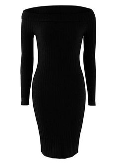 Off Shoulder Long Sleeve Skinny Knit Dress Ribbed Dress, Knit Dress, Cute Dresses, Cute Outfits, Sweater Dresses, Casual Outfits, Love Fashion, Womens Fashion, Look Chic
