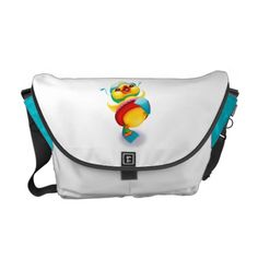 This fun diaper bag features original watercolor artwork of a joyful duck and has turquoise accents.