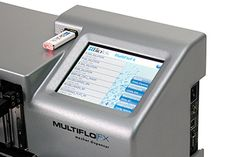 MultiFlo FX Microplate Dispenser close up   All functions are programmed and accessed via the color touch screen user interface and the small footprint allows MultiFlo FX to be used in a biosafety cabinet or integrated into an automated robotic system.