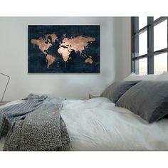 navy and copper map painting