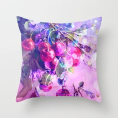 cherries Throw Pillow by clemm - $20.00