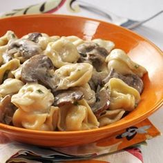Portobello & Basil Cheese Tortellini Recipe -With portobello mushrooms and satisfying cheese tortellini, this earthy, elegant dish is perfect for either a quick, casual dinner or a more… Think Food, I Love Food, Food For Thought, Good Food, Yummy Food, Great Recipes, Dinner Recipes, Favorite Recipes, Vegetarian Recipes