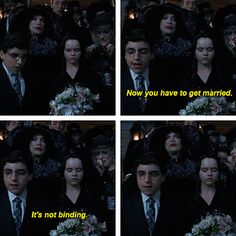 When she caught some flowers at a wedding and didn't give a fuuuuuh. | 19 Times Wednesday Addams Was A Total Misandrist