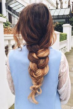 Chunky Simple Braid on @mimiikonn who is rocking her Ombre Blonde #LuxyHairExtensions to create a more voluminous braid <3