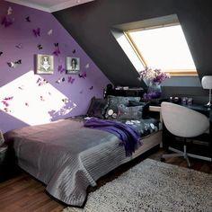 purple and grey bedroom | Purple & grey butterfly bedroom