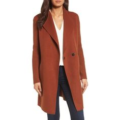 Women's Kenneth Cole New York Double Face Coat ($198) ❤ liked on Polyvore featuring outerwear, coats, nutmeg, petite, red coats, reversible coats, wool blend coat, petite coats and kenneth cole coats