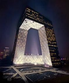 Here's another Koolhaas, the CCTV Building in Beijing. 2008. I'm pretty sure this is not how it actually looks at night, but it was the clearest picture I could find. What a gorgeous transformation of the basic skyscraper:')