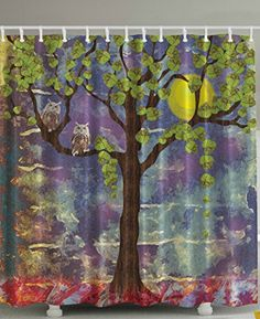 Owls Home Decor Artistic Shower Curtain Night Owl Lemon Tree Colorful Shower Curtain Leaves Decorations Full Moon Moonlight Midnight Vision Painting Effect Bathroom Green Brown Purple Red Yellow Ambesonne http://smile.amazon.com/dp/B019IOC7PE/ref=cm_sw_r_pi_dp_bdVdxb0E0BQR3